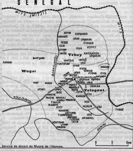 Carte du pays Coniagui